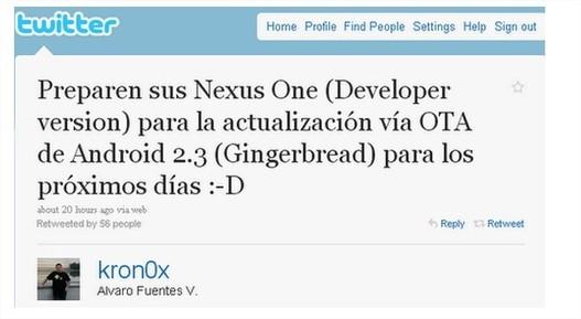 Android 2.3 Gingerbread cette semaine pour les Nexus One?