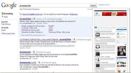 Google Instant Preview - Affichez l'aperçu d'un site web