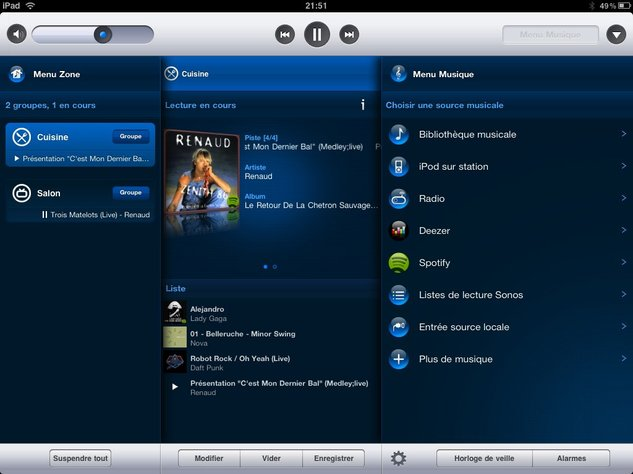 Sonos sur iPad - Génialement bien fait