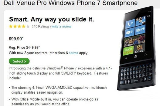 Windows Phone 7 - Dell Venue Pro bientôt disponible