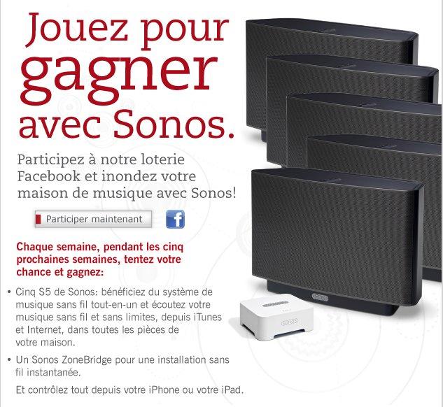 Sonos vous offre 5 S5 et 1 ZoneBrige