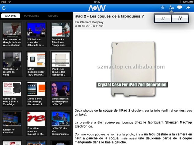 Application iPhone ( V2 ) et iPad d'AccessOWeb sur l'App Store