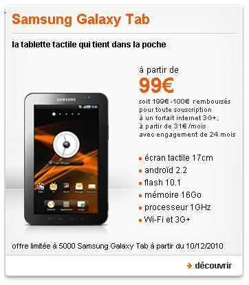 La Galaxy Tab à 99 € chez Orange