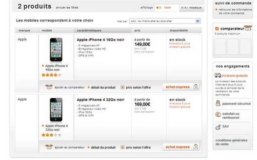 Orange baisse le prix de l'iPhone 4 !