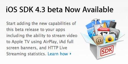 iOS 4.3 Beta 1 disponible pour les développeurs