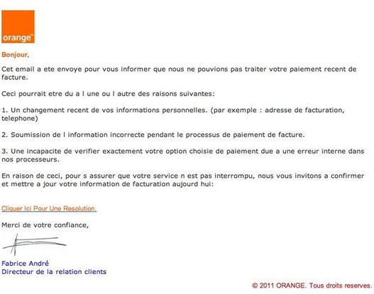 ATTENTION - Faux mail d'ORANGE