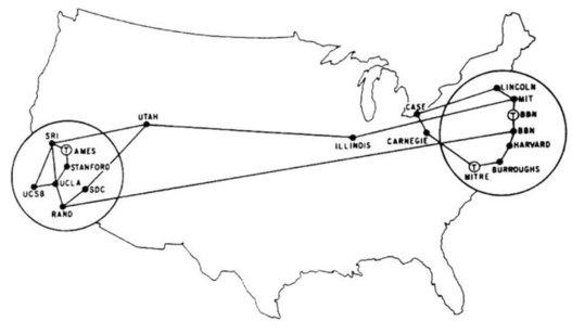 La carte de Arpanet en 1972, les débuts d'Internet