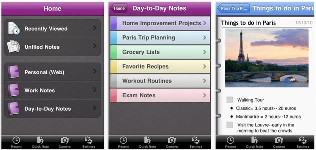L'application OneNote disponible sur iPhone