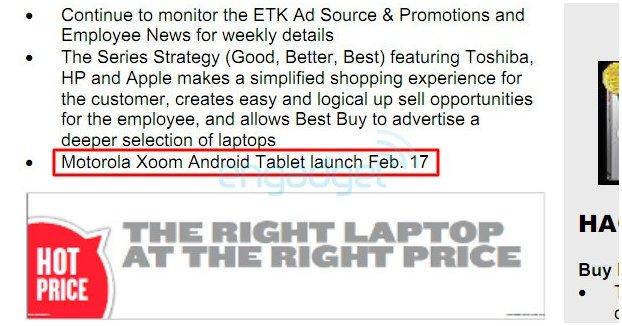 Motorola Xoom pour le 17 février à 800 $