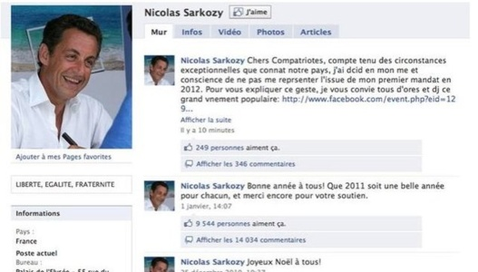 Le compte Facebook de Nicolas Sarkozy a été piraté