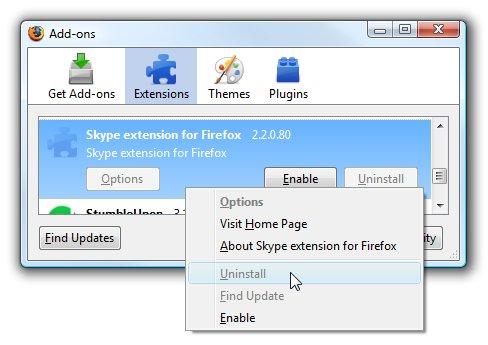 Mozilla bloque intentionnellement l'extension Skype