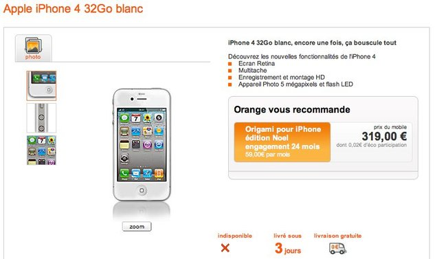 L'iPhone 4 blanc chez Orange France