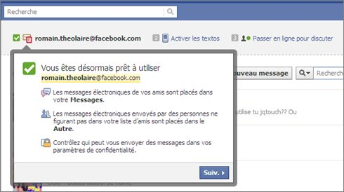 Facebook - La messagerie @facebook.com est active