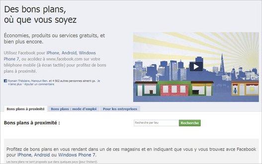 """Facebook - 20 millions d'utilisateurs et un nouveau service """"Bons Plans"""""""
