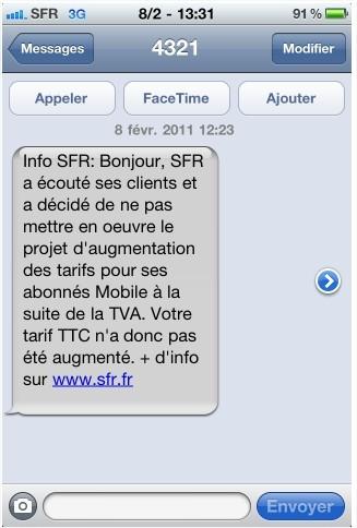 TVA mobile - Orange et SFR envoient des SMS