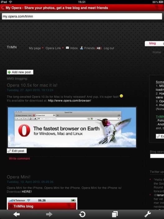 Opera - L'annonce d'une version iPad lors de la MWC