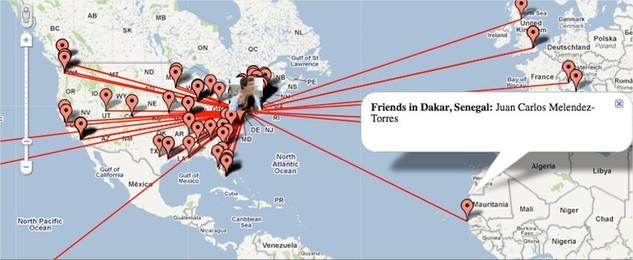 Vos amis Facebook sur Google Maps