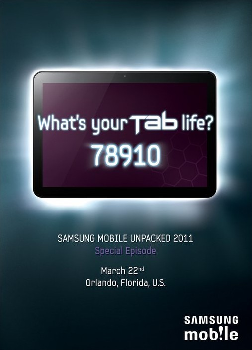 Samsung Galaxy Tab 8.9 pouces le 22 mars 2011