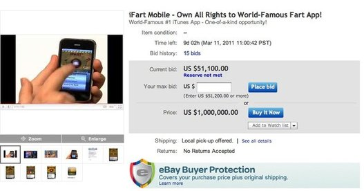 iFart - L'application en vente 1 millions de dollars sur eBay