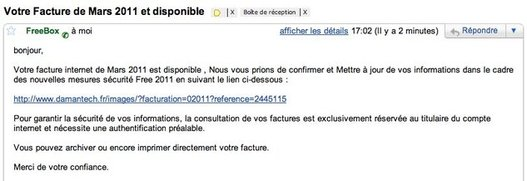 Attention au Phishing pour FreeBox dans vos mails