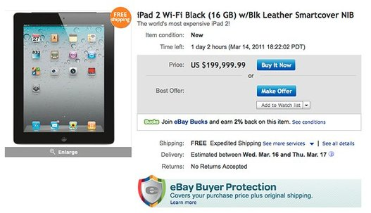 Un iPad 2 à 200000 $ ... Un iPad 2 normal :)