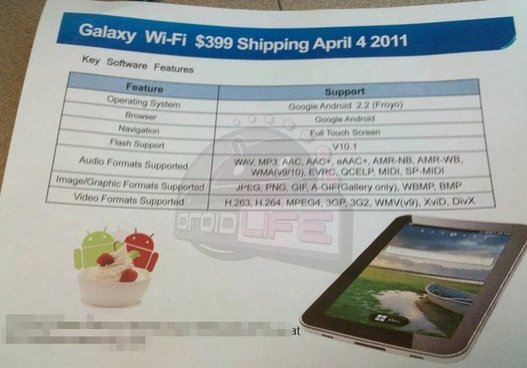 Samsung Galaxy Tab WIFI le 4 avril pour 399$