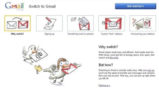 Switch to Gmail - un site pour passer à Gmail étape par étape