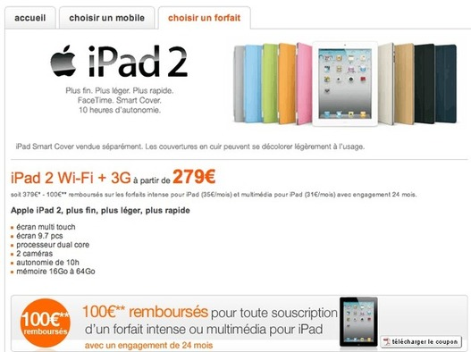 iPad 2 - 279 € chez Orange