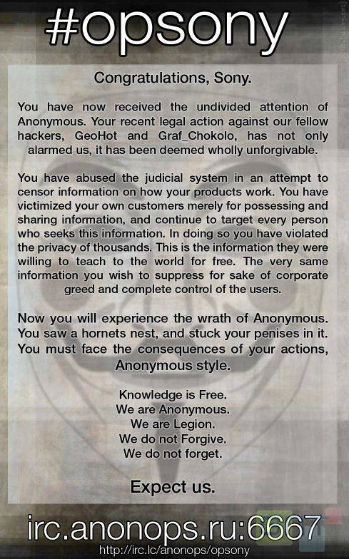 Anonymous s'attaque à Sony !