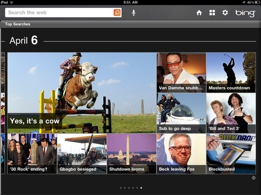 L'application Bing est disponible sur iPad