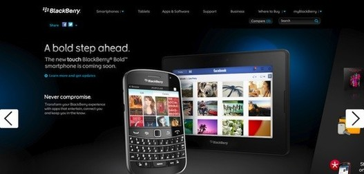 Le Blackberry Bold Touch sur le site de Blackberry