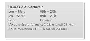 Apple Store - Rendez vous mardi 24 mai à 11h