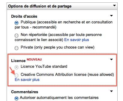 Youtube propose la licence Creative Commons pour tous