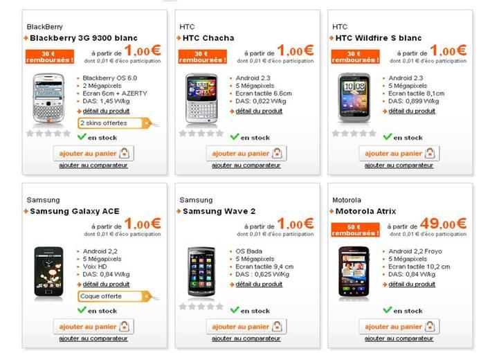 Les prix des smartphones d'Orange fondent au soleil