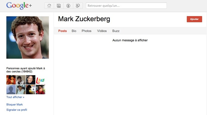 Mark Zuckerberg, le profil le plus suivi mais le plus vide de Google +