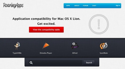 La liste des applications compatibles avec Mac OS X Lion