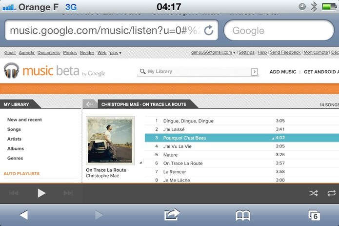 Google Music sur iPhone