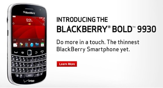 Le Blackberry 9930 est disponible chez Verizon