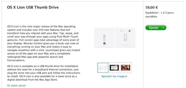 Mac OS X Lion - La clé USB d'installation est disponible