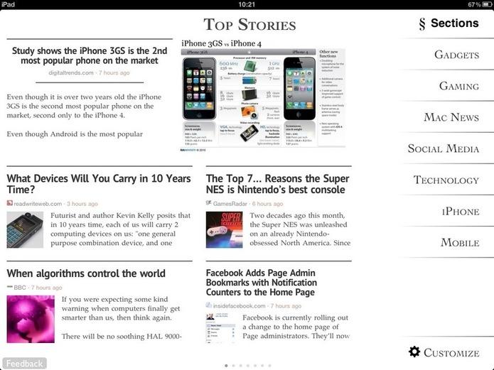 L'écran d'accueil lorsque j'ai lancé Zite pour la première fois. Plutôt juste les thèmes, cela grâce à mon Twitter.