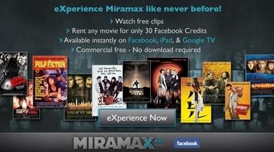 Miramax propose ses films en streaming sur Facebook