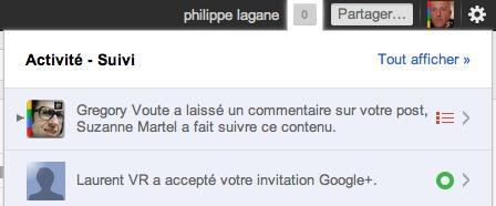 Google + - Une notification lorsqu'une personne accepte une invitation