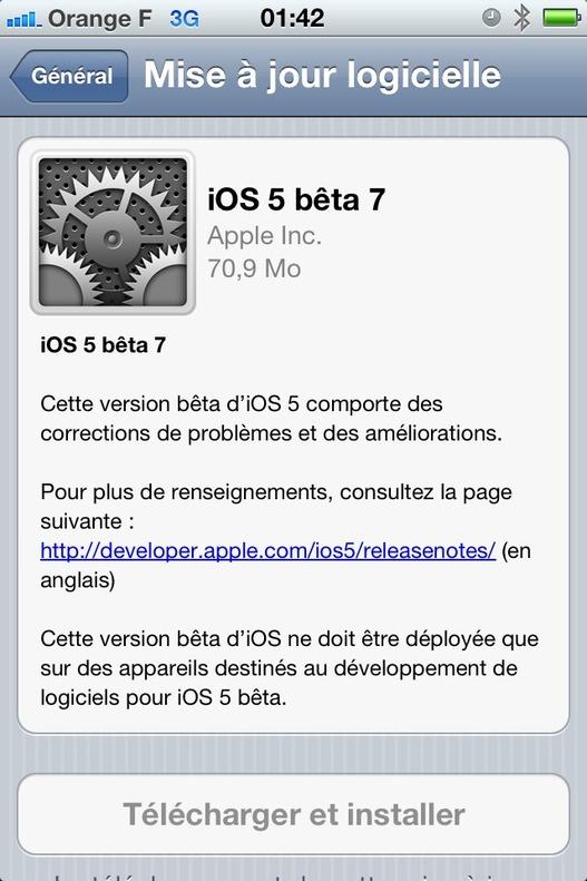 iOS 5 beta 7 est disponible