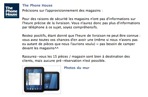 The Phone House prend il des risques à vendre le Touchpad?