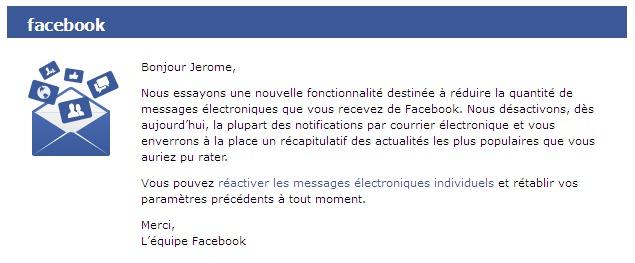 Facebook vous enverra moins de messages électroniques