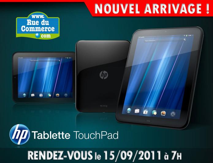 370 HP Touchpad le 15 septembre chez Rue du Commerce
