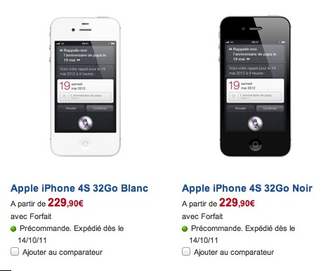 iPhone 4S - Les prix chez SFR (Update)