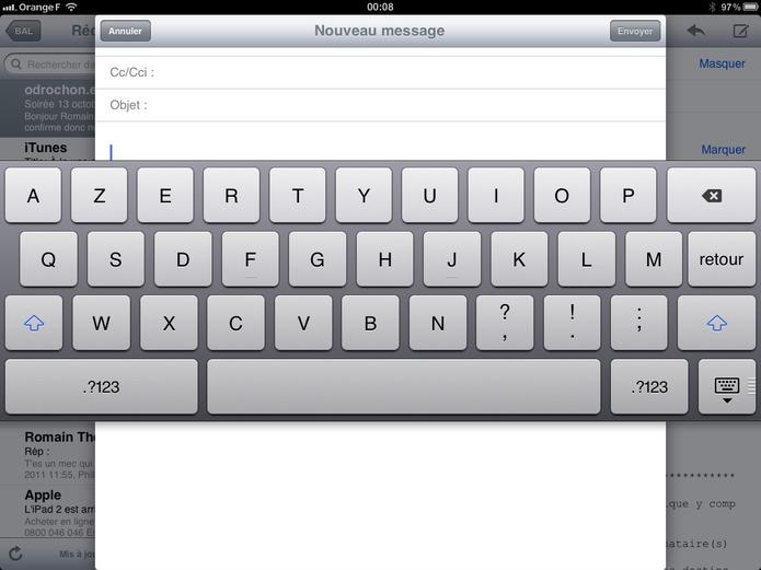 iPad sous iOS 5 - Les différents claviers