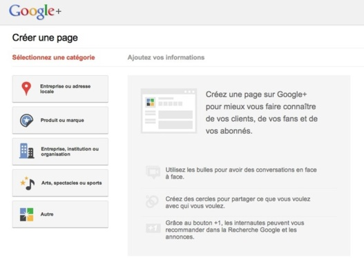 Google+ Pages est disponible