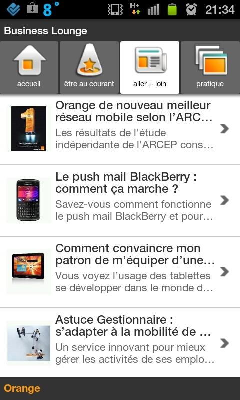Orange lance son application Business Lounge sur iPhone et Android